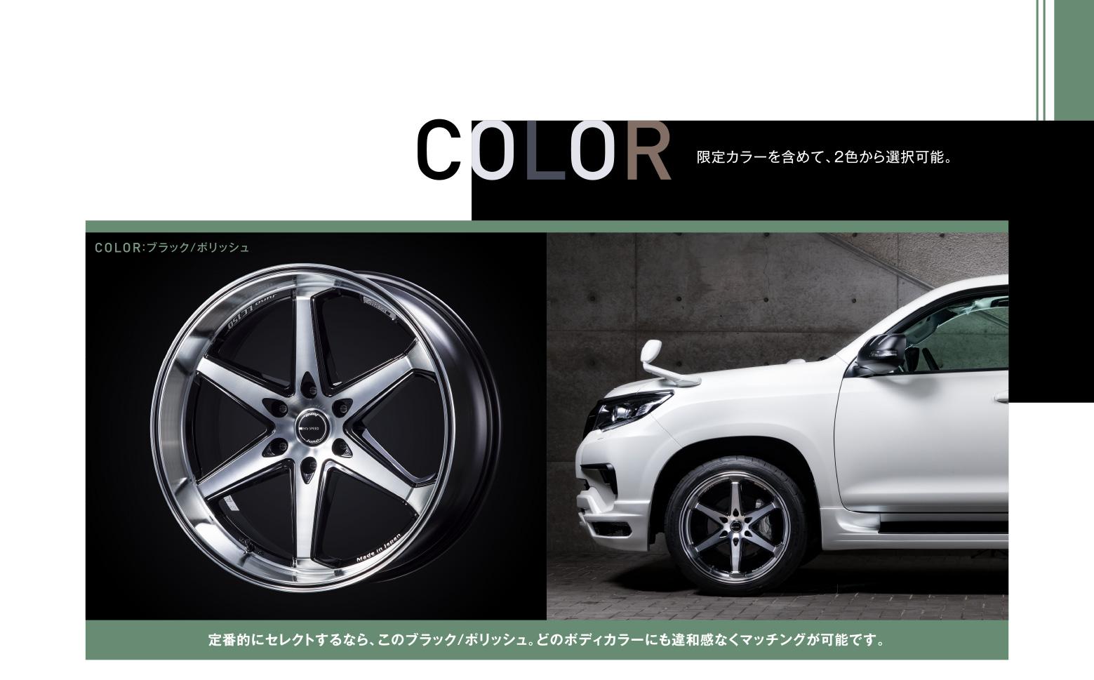 COLOR 限定カラーを含めて、2色から選択可能。COLOR:ブラック/ポリッシュ 定番的にセレクトするなら、このブラック/ポリッシュ。どのボディカラーにも違和感なくマッチングが可能です。