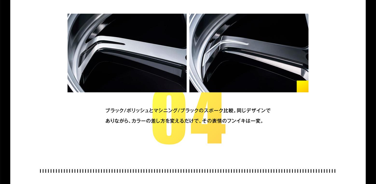 ブラック/ポリッシュとマシニング/ブラックのスポーク比較。同じデザインでありながら、カラーの差し方を変えるだけで、その表情のフンイキは一変。
